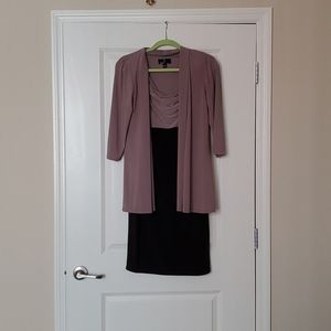 Professional dress with attached cardigan